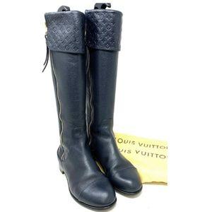 💯 Auth LOUIS VUITTON Empreinte Leather Long Boots